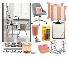"""""""Peach and Gray Office Contest"""" by tlb0318 ❤ liked on Polyvore featuring interior, interiors, interior design, home, home decor, interior decorating, ferm LIVING, Orla Kiely, Post-It and Safavieh"""