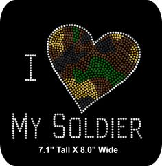 Rhinestone iron-on  - Patriotic/Soldier- Iron-on - Bling  Rhinestone T-shirt Transfer  - DIY -I Heart My Soldier - pinned by pin4etsy.com
