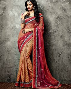 Dazzling Pink And Brown Thread Work Embroidered Casual Party Wear Sarees. buy online shopping sarees at -Mauritius. Online Shopping Sarees, Buy Sarees Online, Blouse Online, Latest Indian Saree, Indian Sarees, Indian Dresses, Indian Outfits, Indian Clothes, Indian Attire