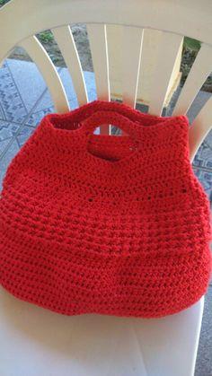 Bolsa de barbante vermelha