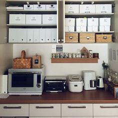 My Shelf,セリア,無印,キッチン収納,吊り戸棚 whitecubeの部屋
