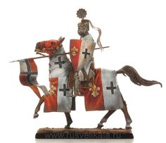 Миниатюра «Конный рыцарь крестоносец. Европа XIV в»