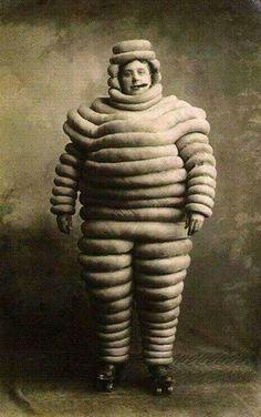 Vintage/Old Early 1900 Weird/Strange/Odd Michelin Man Cigar/Skate Costume Photo
