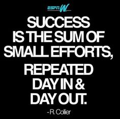 Success is the sum of small efforts, repeated day in and day out. -R. Collier