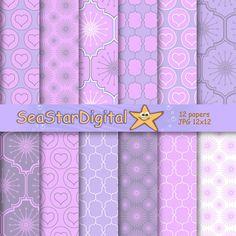 Purple geometric digital paper for scrapbook, wedding. Download background pattern in: pink, violet, lavender hearts.