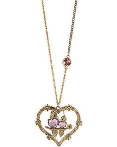 "Bestsey Johnson ""Love Bird"" heart necklace"