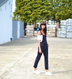 outfit-black-dungarees-polkadot-off-shoulder-tee