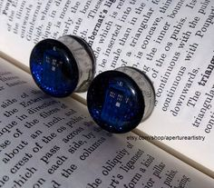 Dr Who Tardis Glitter plugs. FOR PAIR. by ApertureArtistry on Etsy https://www.etsy.com/listing/187410852/dr-who-tardis-glitter-plugs-for-pair