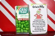 Grinch Pills for the kids over Christmas holidays. Christmas Crafts To Make And Sell, Diy Christmas Gifts, Christmas Projects, Holiday Crafts, Holiday Fun, Christmas Decorations, Handmade Christmas, Christmas Stocking, Christmas Presents For Boyfriend