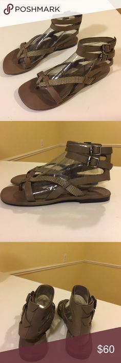 NWT 7 for all mankind sandals Stylish taupe color 7 for all mankind thong sandals. Ankle strap with buckle. New never worn. Box included. True to size 7 For All Mankind Shoes Sandals
