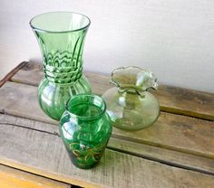 vintage vase set green glass- anchor hocking . Starting at $14 on Tophatter.com!