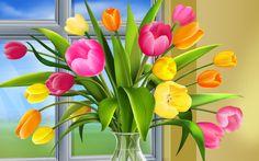 Spring bouquet in mason jar