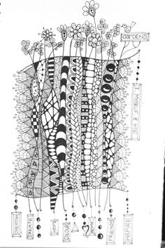 Zentangle garden, flowers, doodle, dangles
