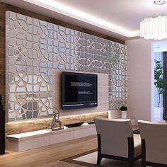 Amazon.com: Alrens(TM)48pcs/Set Geometric Art Mirror Effect 3D Wall Sticker TV Backdrop Door Decorative DIY Painting Acrylic Sticker Living Room Home Decor 30120cm: Home & Kitchen