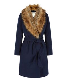Look at this Navy Faux Fur Belted Coat on #zulily today!