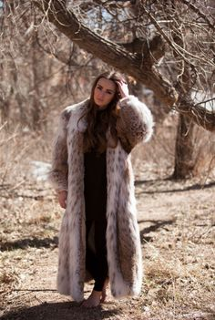 "Vintage 1980's ""$$$ Miller"" Lynx Full Length Fur Coat"