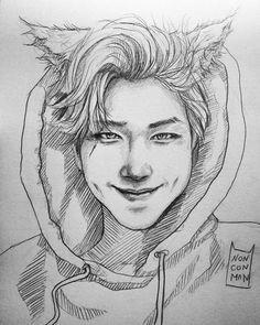 Ideas drawing challenge kpop for 2019 Kpop Drawings, Art Drawings Sketches, Pencil Drawings, Fanart Bts, Drawing Challenge, Rap Monster, Bts Pictures, Namjoon, Rapmon