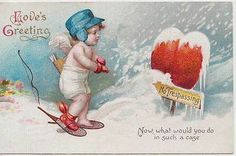 Vintage Embossed Valentine PC; Unmarked Clapsaddle; Wintry Cupid, Bow & Arrow