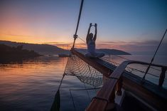 Your new yoga hotspot 😍 The environment, the silence and the fresh air, it's perfect 👌 Sailing Cruises, Classic Yachts, Greek Islands, The Fresh, Perfect Place, Environment, Yoga, Places, Outdoor Decor