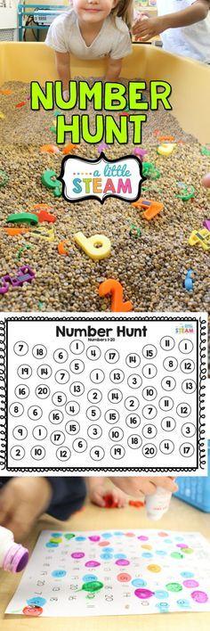 Preschool or kindergarten math game and sensory bin. Learn number recognition, fine motor and team work!