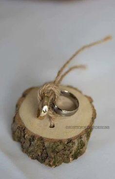 Rustic shabby chic ring bearer pillow, wedding wood slice, rustic ring box,