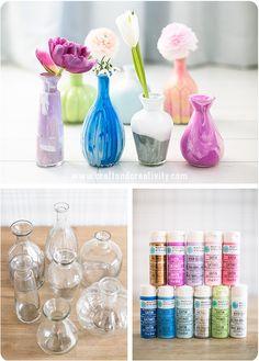 Marmorerade glasvaser – Marbled glass vases