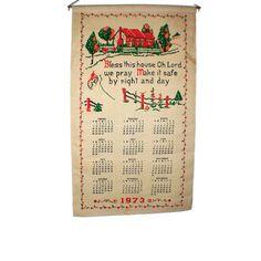1973 Cotton Tea Towel Calendar - Bless This House  - Vintage Kitchen Towel Calendar - Linen Towel by BatnKatArtifacts