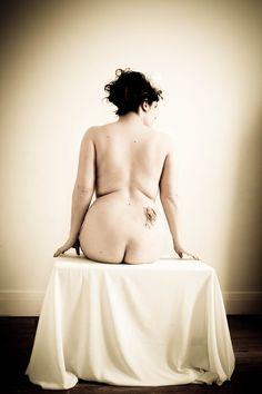 Nude but flowers by MademoiselleCherie, poppy tatoo, fine art nude, studio, curvy