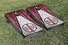 Southern Illinois Carbondale Salukis College Vault Logo on Weathered Triangle Bag Toss Game