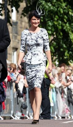 Pippa Middleton in a peplum dress at Lady Melissa Percy's wedding in Northumberland