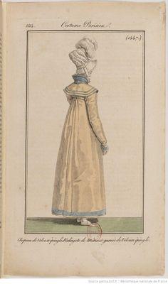 1814 Costume Parisien No 1447 Chapeau de Velours epingle, Redingote de Merinos garnie de Velours epingle
