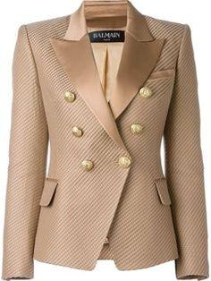 Balmain for Women - Designer Clothing : textured blazer by balmain Balmain Jacket, Balmain Blazer, Blazer Outfits, Blazer Fashion, Fashion Outfits, Women's Fashion, Cotton Blazer, Cotton Jacket, Classy Outfits