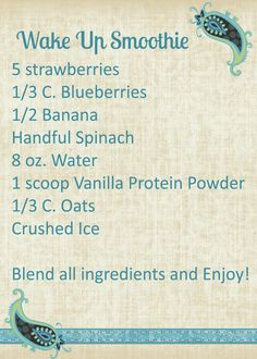 My Fit Corner: Wake Up Smoothie Recipe