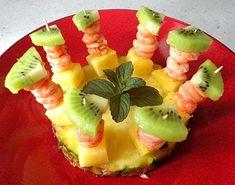 Recette - Mini brochettes de Crevettes, Ananas et Kiwi