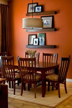 Im loving these orange walls. The orange walls being a sense of excitement and friendliness to the room. The brown table works great with these cheerful walls. Orange Dining Room, Living Room Orange, Dining Room Colors, Dining Room Walls, Living Room Paint, Dining Room Design, Kitchen Colors, Room Chairs, Indian Living Rooms
