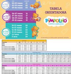 Tabela de medidas de roupas infantis