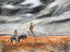 "Marcel Nino Pajot   ""Errance"" technique mixte sur toile  89 x 116 Marcel, Knight, Fantasy, Illustration, Painting, Art, Man Of La Mancha, Pictures, Abstract"