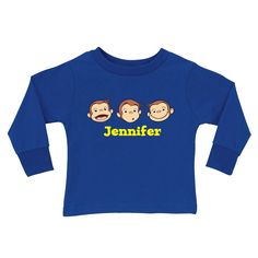 Buy Curious George Silly Monkey Royal Blue Long Sleeve Tee at the PBS KIDS Shop.