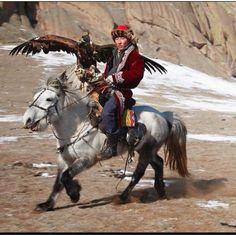 Kazakh eagle hunter, Mongolia.