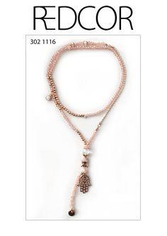 Halskette, Perlenkette mit Buddha und Hand