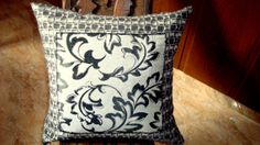Applique abstract geometric pillow  Leaf sateen 20x20 by SABDECO, €28.00