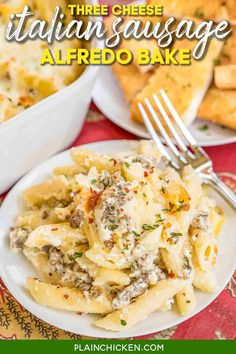 Three Cheese Italian Sausage Alfredo Bake - great make-ahead pasta dish. Penne pasta, alfredo sauce, sour cream, ricotta, garlic, Italian sausage, eggs, parmesan, and mozzarella cheese. SO good!! We make this at least once a month! Can freeze half for later. This is THE BEST pasta casserole we've ever eaten!!! #casserole #freezermeal #pasta #sausage #alfredosauce Best Pasta Recipes, Pork Recipes, Cooking Recipes, Dinner Recipes, Dinner Ideas, Dinner Options, Turkey Recipes, Meal Ideas, Chicken Recipes