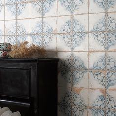 Made from ceramic, these Vecchio Diamante Indigo Tiles have a vintage pattern with an antiqued design. They're perfect for a feature wall or statement floor. Indigo Walls, Azul Indigo, Wood Effect Tiles, Tiles Texture, White Wall Tiles, Wall And Floor Tiles, Wall Tile Adhesive, Hexagon Mosaic Tile, Small Tiles