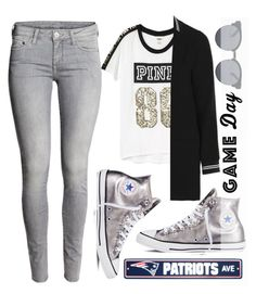 """""""Game day Go Patriots!!!"""" by alaria ❤ liked on Polyvore featuring Victoria's Secret, Topshop, Converse, Quay, H&M, gameday and sixtysecondstyle"""