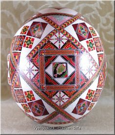 Ukrainian Real Ostrich Pysanka Easter Egg, from Iryna