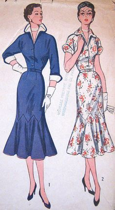 Vintage 1950s Slim Dress Pattern RareTrumpet Skirt Fitted Bodice Detachable Collar Cuffs Simplicity 8384 Bust 38 Full Figure Plus Size