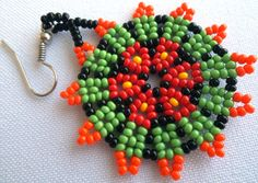 Mexican Huichol Beaded Peyote Flower Necklace and Earrings set JGP-0021 Mexican…