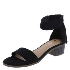 """Add some flair to your sandal routine with the Nadia Heel from Brash! It features a faux suede upper, ankle sling, ankle zip with trendy tassel, padded footbed, 1 1/2"""" heel, and a durable outsole. Manmade materials."""