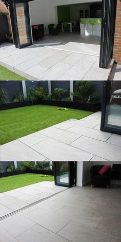 Inside / Outside Contemporary Garden Bi-fold doors Kitchen Vitripiazza Nuvola Italian Vitrified Porcelain Paving Landscaping Patio Back Garden Design, Modern Garden Design, Backyard Garden Design, Patio Design, Backyard Patio, Backyard Landscaping, Garden Fun, Green Garden, Landscaping Ideas