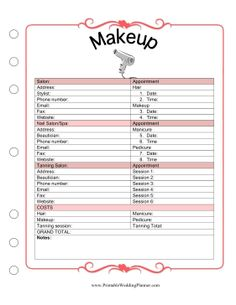 The Wedding Planner Makeup template covers appointment times and cost for professional makeup sessions as well as spas, hair and nails salons, and tan… - Wedding Planning Notebook, Wedding Planner Book, Wedding Planning Tips, Wedding Tips, Wedding Day, Diy Wedding, Trendy Wedding, Wedding Timeline, Free Wedding